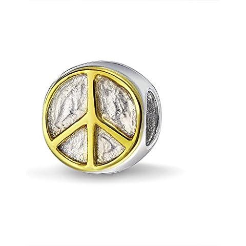 Bling Jewelry Símbolo de la Paz Plata de Ley Inpiración Biagi Cordón Compatible