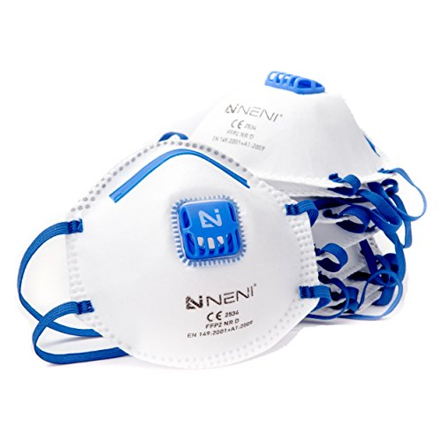 NENI Atemschutzmaske FFP2 im 10er Set | Premium Feinstaubmasken als anpassbare Mundschutz Masken | Atemmasken gegen Feinstaub (Tage Bis 4 Halloween)