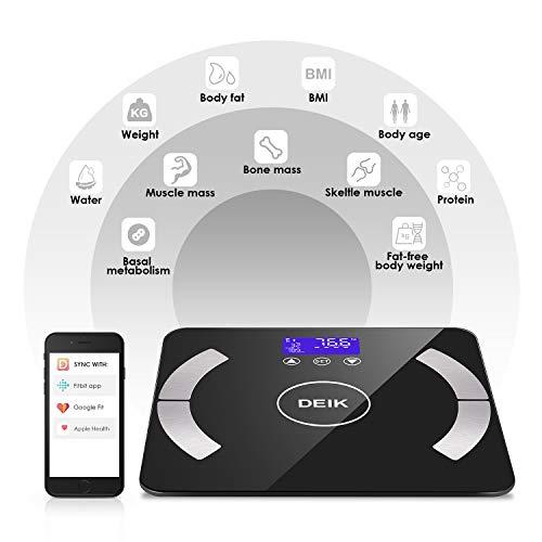 DEIK Personenwaage, Bluetooth Körperfettwaage Digitale Waage mit APP, 18 Körperzusammensetzung Muskelgewicht, Körperfettwerte, Muskeln, Proteinrate, BMI, BMR, usw, Maximale 400lb/180kg, Schwarz