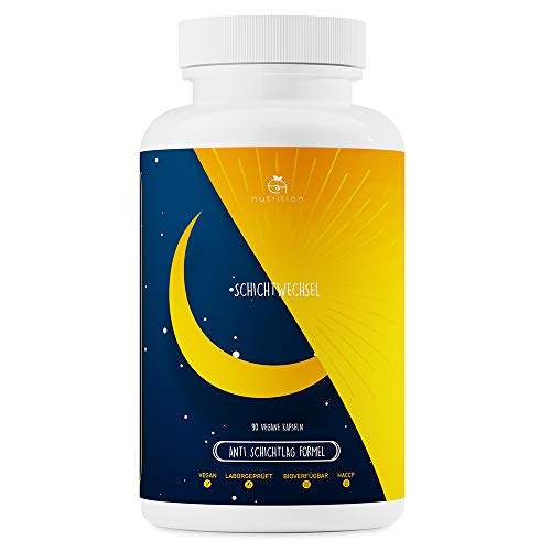 Schichtwechsel, natürliche Melatonin-Quelle, 90 Kapseln, natürliches Schlafmittel & Schlafoptimierer, mit Baldrian, 5 HTP, Ashwagandha und 11 weiteren Wirkstoffen