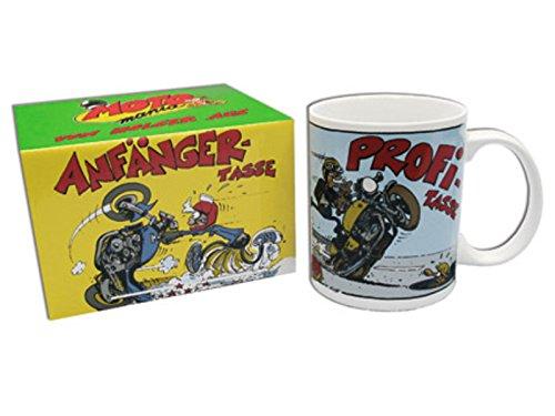 MOTOmania Kaffeetasse/Anfänger - Profi Design/Becher/Motorradfahrer Geschenkidee