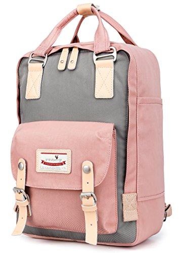Reise Rucksack Schultasche Bookbag Satchel Laptop Daypack Weekender Schultertasche für Männer Frauen, Passt für 15 in Laptop Rosa (Rucksack Bookbag)