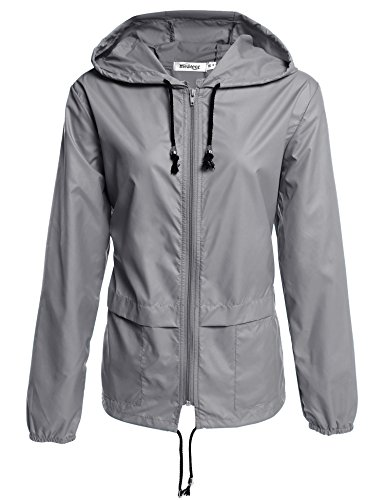 Meaneor Damen Jacke Übergangsjacke Regenjacke mit Kapuze Tasche Regenparka Funktionsjacke Wasserdicht Atmungsaktiv