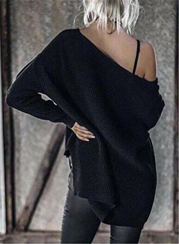 BESTHOO Pullover Tricoté Femme Grande Taille Automne Hiver Baggy Chemise Tunique Blouse Top Oversize Casual Sweatshirt Sans Bretelles Couleur Unie Black