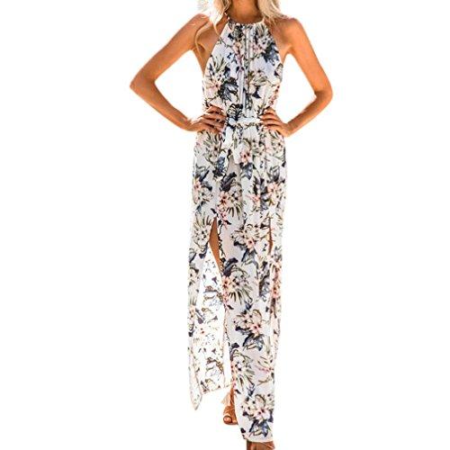 AMUSTER Frauen Sommer Boho Kleid Strand Blumenkleid Abend Party Lange Maxikleid V Asymmetrisches Neckholder Blumenkleid Elegant Kleid Lang Strandkleid Partykleid (XL, Weiß) -