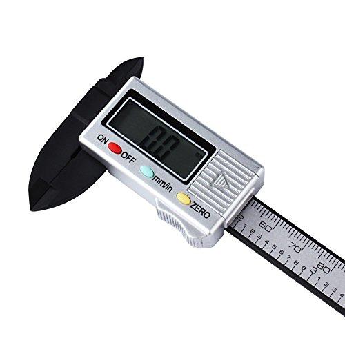 Digital Messschieber, Minkle Professionale Kohlefaser Schieblehre mit LCD Anzeige, In / mm, 100mm Messbereich, Silber