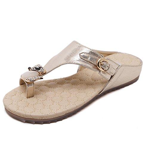 ZOEREA Sandali da donna da estate Antiscivolo traspirante PU Cuoio Sandali bassi infradito Volpe della decorazione del rhinestone Oro