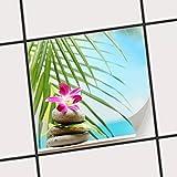 creatisto Fliesen-Aufkleber/Küchenfolie 10x10 cm 1x1 / Design Sticker Lotus Flower/selbstklebende Dekoration
