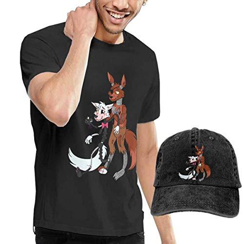 Schwarze Perücke Foxy (Baostic Herren Kurzarmshirt Men's Foxy and Mangle T Shirts and Washed Denim Baseball Dad Hats Black)