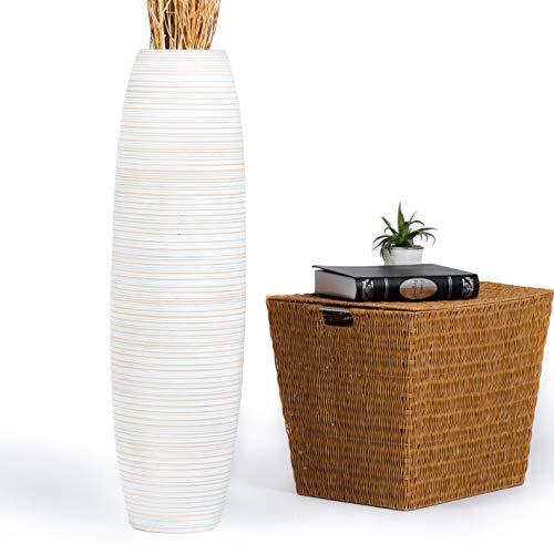Leewadee Große Bodenvase für Dekozweige hohe Standvase Design Holzvase, 25x90 cm, Holz, White Washed