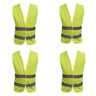 4 Pack Adult Yellow Hi Vest High Vis Hi Viz Visibility Vest Waistcoat Jacket Safety Security