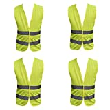 4 Pack Adult Yellow Hi Vest High Vis Hi Viz Visibility...