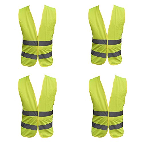 4 Pack Adult Yellow Hi Vest High...