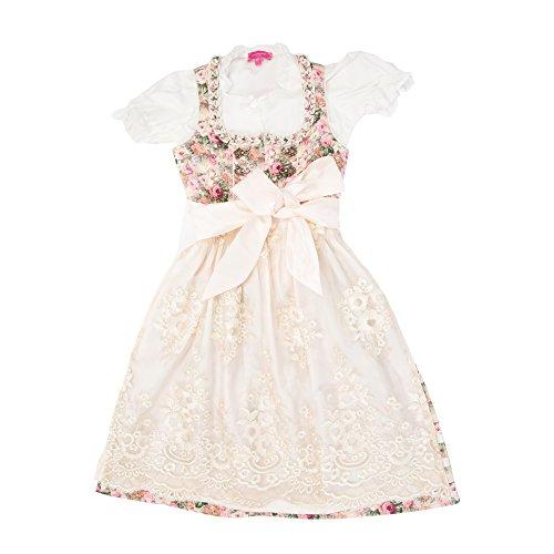 Krüger Madl ® Mädchen Kinderdirndl rosa gelb, grün geblümtes Kleid mit goldener Spitzenschürze 3tlg. Trachtenkleid Dirndl, Bluse Schürze - Marken - Dirndl Set- ArtNr.: 41421 (Taufe Baumwolle Kittel Kleid)