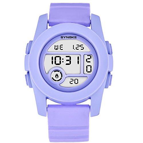 Wasserdichte Damen Uhren Digitaluhren Mädchen Elegante Armbanduhr Damen Lila