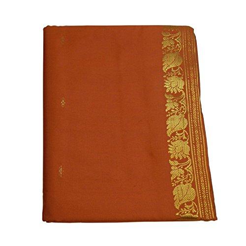 (indischerbasar.de Sari orange Goldbrokat traditionelle Bekleidung Indien Tracht Wickelanleitung Bindikärtchen)