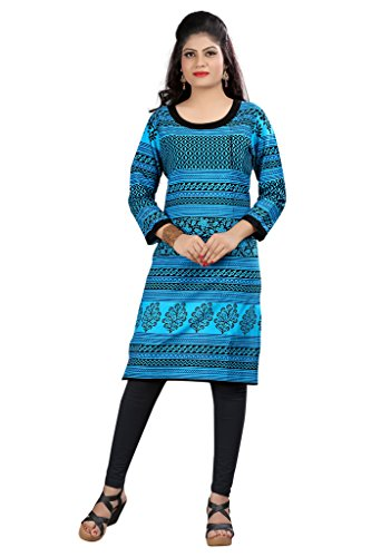 Kurti (Sai Fab Women\'s Cotton Printed Sky Blue & Black Kurti) ( Free Size Altrable Till 40-42 OR L)