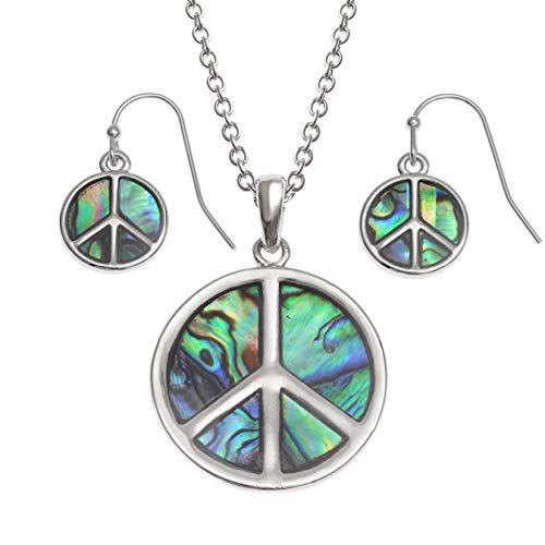 Seashore Jewellery Damen Peace-Zeichen Anhänger Halskette und Ohrringe Geschenkset eingelegt mit nachhaltiger Abalone-Muschel auf hypoallergener Kette mit Geschenkbox