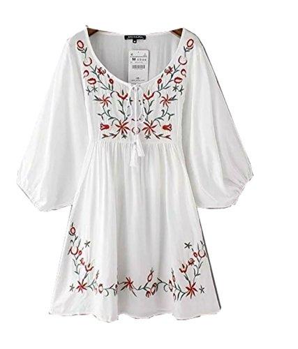 Damen Weiß mexikanische bestickte Weinlese V-Ausschnitt 3/4 Ärmel Minikleid Bauer Kleid Tops Shirt Blusen (Weiß)