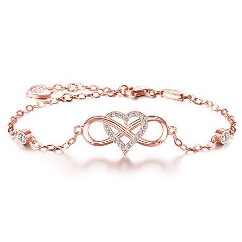 BlingGem Damen Unendlichkeit Herz Für immer zusammen Armband aus Roségold vergoldet 925 Sterling Silber Armkette Einstellbar