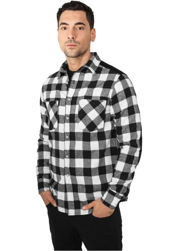 URBAN CLASSICS - Cord Patched Checked Flanell (black/white) - Hemd Black/White