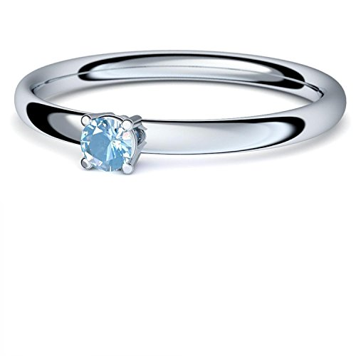 Aquamarin Ring Silber 925 (***sehr hochwertiger Aquamarin 3 mm***) + GRATIS Luxusetui Silberring blauer Stein Silberring Aquamarin Aquamarinringe Ringe Damen Schmuck AM161 SS925AQFA58