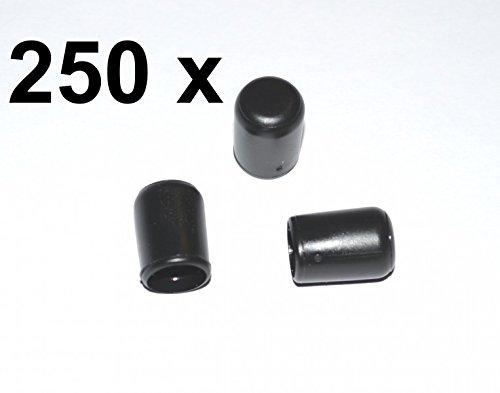 250 x Kappe für Rundrohr D=8 mm L=12 mm schwarz PVC
