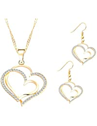 GirlZ! Gold Plated Rhinestone Romantic Heart Pattern Crystal Pendant And Earrings Set For Women