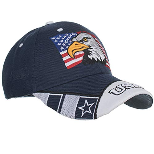 Qiamay Unisex bestickte Baseballmütze USA Flag Muster Tongue Cap Sun Hat(Blau,One Size) Usa-mesh-hut