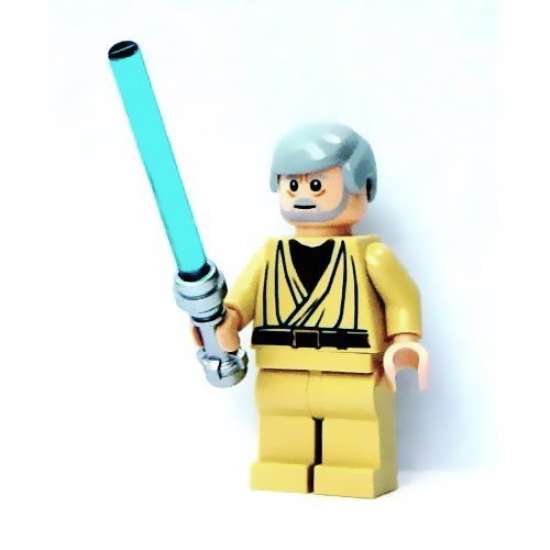 Lego-Star-Wars-Mini-Figure-Obi-Wan-Kenobi-white-pupils-with-Lightsaber-Approximately-45mm-18-Inches-Tall-by-LEGO