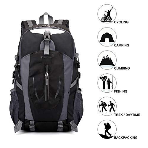 Hiking Backpack Travel Backpack 30L Multifunctional Water Resistant Outdoor Backpack for Climbing Camping Hiking Outdoor Backpack Rucksack Camping Riding Travel Leisure (Color : Black)