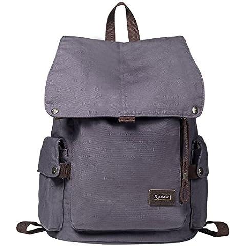 Ryaco [lona de la vendimia] R923 Mochila, Daypacks ocasionales, La bolsa de la universidad, con acolchado para el ordenador portátil de bolsillo - para viajar, Excursionismo, Alpinismo, Caza, Cámping (Gris)
