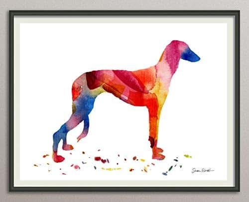 whippet Rasse Hunde Hunderasse Fine Art Print Aquarell Silhouette Profil Poster Kunstdruck Plakat modern ungerahmt DIN A 4 Deko Wand Bild