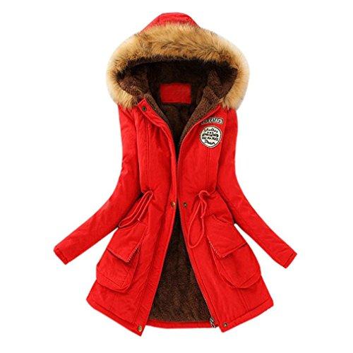 UFACE Damen Parka Warmer Langer Mantel Pelzkragen Kapuzenjacke Winter Parka Outwear (Rot, M)