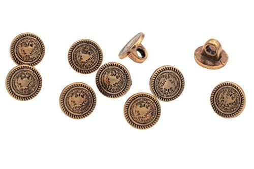 10 Stück Gold Antik Mini Metall Knöpfe Münzknöpfe Wappen Adler 10mm Ösenknöpfe Metallknöpfe - Wappen-knöpfe