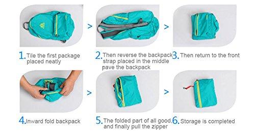aonijie pieghevole nylon impermeabile zaino scuola borse sport all' aria aperta, campeggio, escursionismo, Light Blue Light Blue