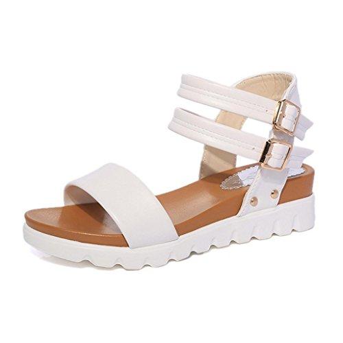 DM&Y 2017 scarpe basse estate sandali aperti doppia fibbia impermeabile sandali dal fondo pesante studenti White