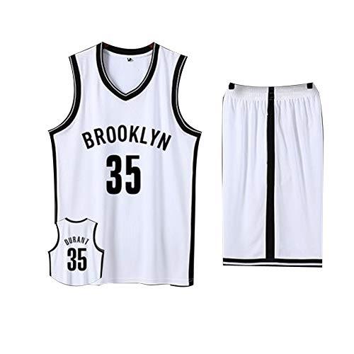 Baumwolle Reversible Tank-top (Herren Basketball Trikot # 35 Kevin Durant, Brooklyn Nets Herren Basketball Trikot 2-teiliges Basketball Performance Tank Top und Shorts Set (3XS-5XL)-White-3XS)