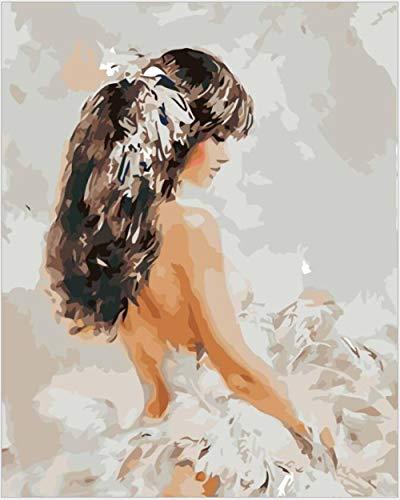 Ballett Kostüm Pferd - MAGICXYZ Malen Nach Zahlen DIY Vorgedruckt Leinwand-Ölgemälde Mädchen Ballett Kostüm 40x50cm Geschenk für Erwachsene Kinder Malen Nach Zahlen Kits Home Haus Dekor(Ohne Rahmen)