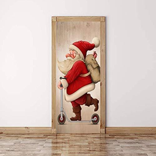 Weihnachtsmann Roller Bild 3D Tür Aufkleber Vinyl Tapete Abnehmbare Aufkleber Poster Diy Kunst Dekoration 77 * 200 Cm