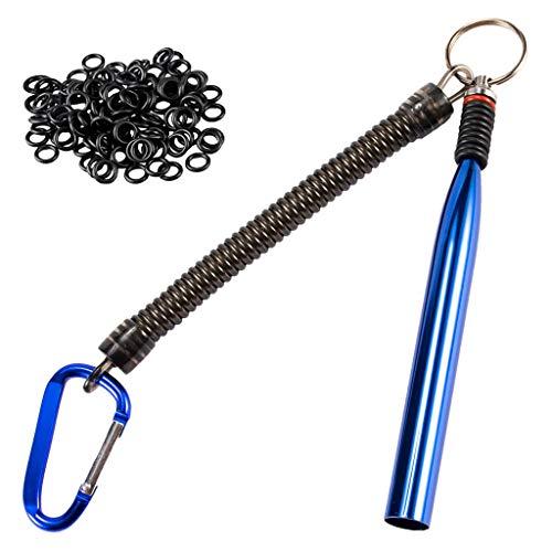 Wacky Wurm Rig Tool Wacky O-Rings Wacky Rigging Gummiwürmer & Stick Soft Baits 1 Wacky Wurm Tool inklusive 100 O-Ringe :26×12cm blau -