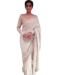 Kaavi Fab Women's Georgette White Multi Work Designer Saree