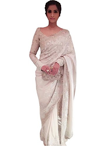 Sonam Kapoor Nayon Net With Georgette White Saree  available at amazon for Rs.2300