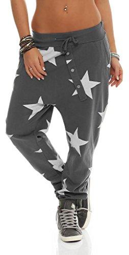 132 Mississhop Damen Hose Sweatpants Jogginghose Baumwolle Freizeithose Boyfriend Baggy Haremshose Sternen Print mit Gummibund Graphit
