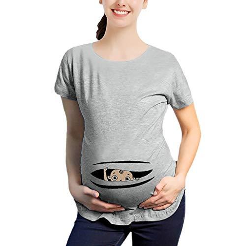 Topgrowth Maglia Premaman Divertenti Maglietta A Maniche Corte Donna Stampa di Lettere Casual T Shirt Gravidanza Camicetta Top T-Shirt Incinta