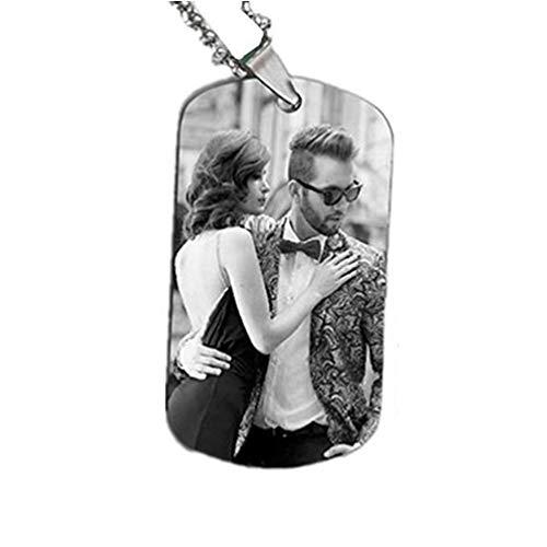 alskette personalisierte Foto und Text Herren benutzerdefinierte Halskette(Schwarz und weiß 14) ()