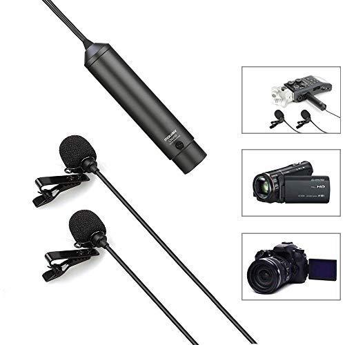 6m/20ft XLR Lavalier-Doppelkopfmikrofon, MOURIV Omnidirektionales Phantomspeisungs Ansteck Mikrofon Interview Kit für Canon Sony Panasonic-Camcorder ZOOM H4n H5 H6 Tascam DR-60D DR-70D DR-100-Recorder (Dj-audio-recorder)