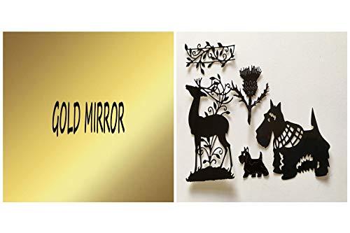 Free Die Cut Silhouetten - Schottische Medley Stanzformen - Distel, Hunde und Hirsch - aus Spiegel/Glitzer-Karte geschnitten Goldfarben verspiegelt