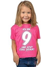 Mädchen zum 9. Geburtstag 9 Jahre alt T-Shirt - Geschenk Idee Kindergeburtstag Kindershirt Ich bin 9 …und echt cool drauf! Geburtstagsgeschenk Kinder Spruch lustig bedruckt in pink : )