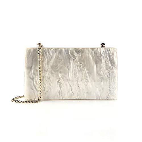 Bdpen pochette da donna,clutch - borsa a tracolla della borsa della cena borsa a tracolla della borsa appesa borsa da pranzo femminile acrilico perlescente perlescente bianca
